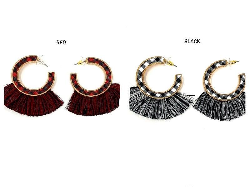 Check Plaid Fringe Hoop Earrings
