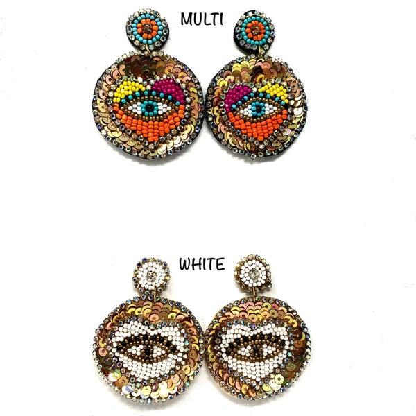 Mix Bead Eye Iconic Earrings 2.5inch