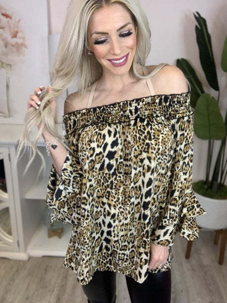 143 Story- Animal print top with 3/4 bell sleeves