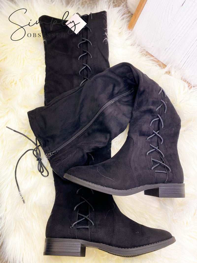 BONNIBEL-KNEE HIGH BOOTS WITH SIDE TIE STRAPS