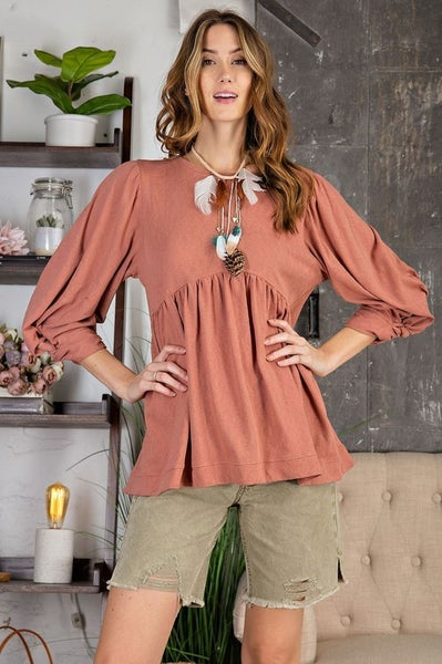 Easel - Long Sleeve Cotton Jersey Babydoll Top