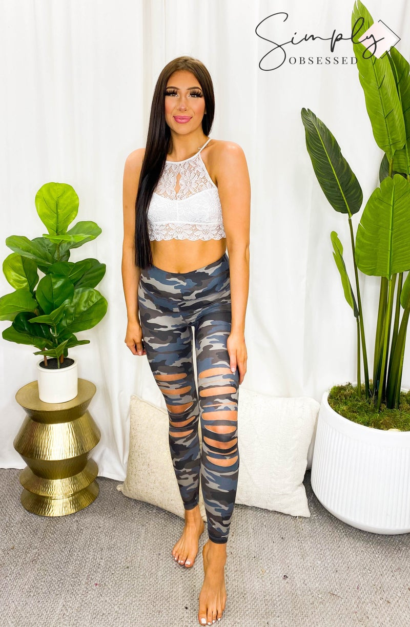 Rae Mode - Full length laser cut detail CAMO print leggings