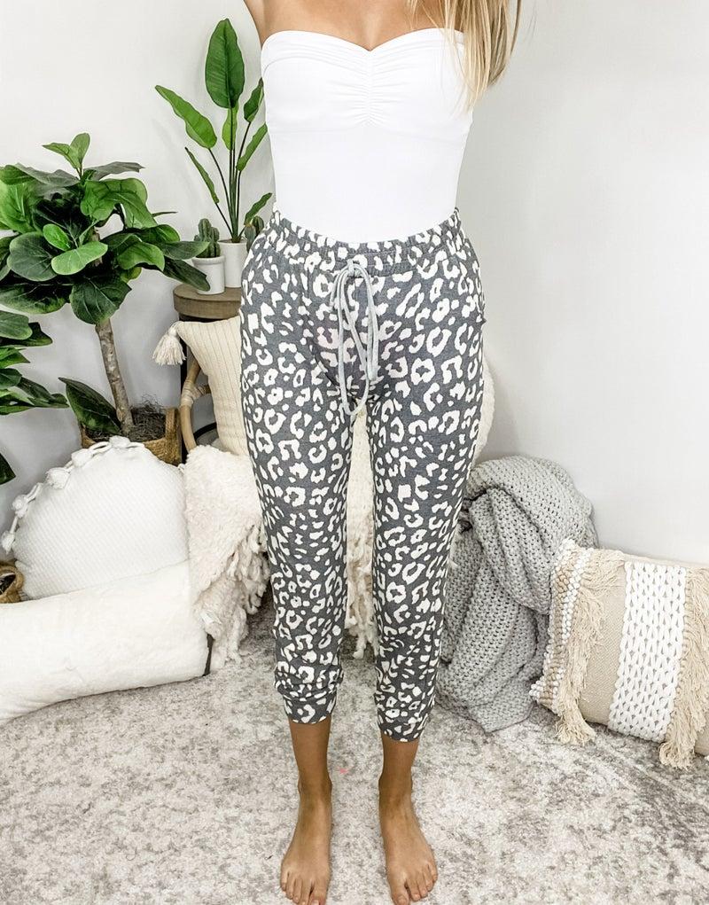 White Birch - Cheetah print knit lounge pants featuring drawstring detail