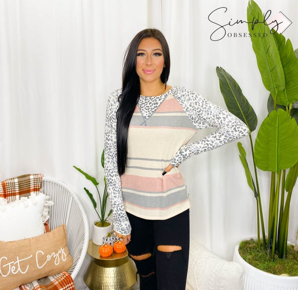 Vanilla Bay - Multi Stripe Knit Top Featuring Leopard Print