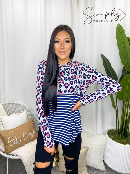 Sew In Love - Long sleeve leopard print stripe contrast hooded top (all sizes)