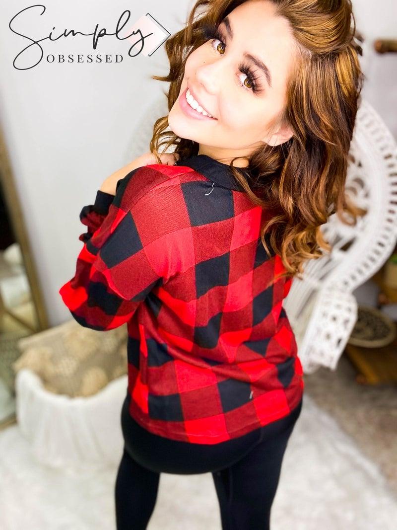 MAIN STRIP-V Neck Button Long Sleeve Plaid Knit Top
