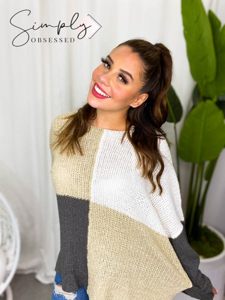 Easel - Color Block Knit Sweater