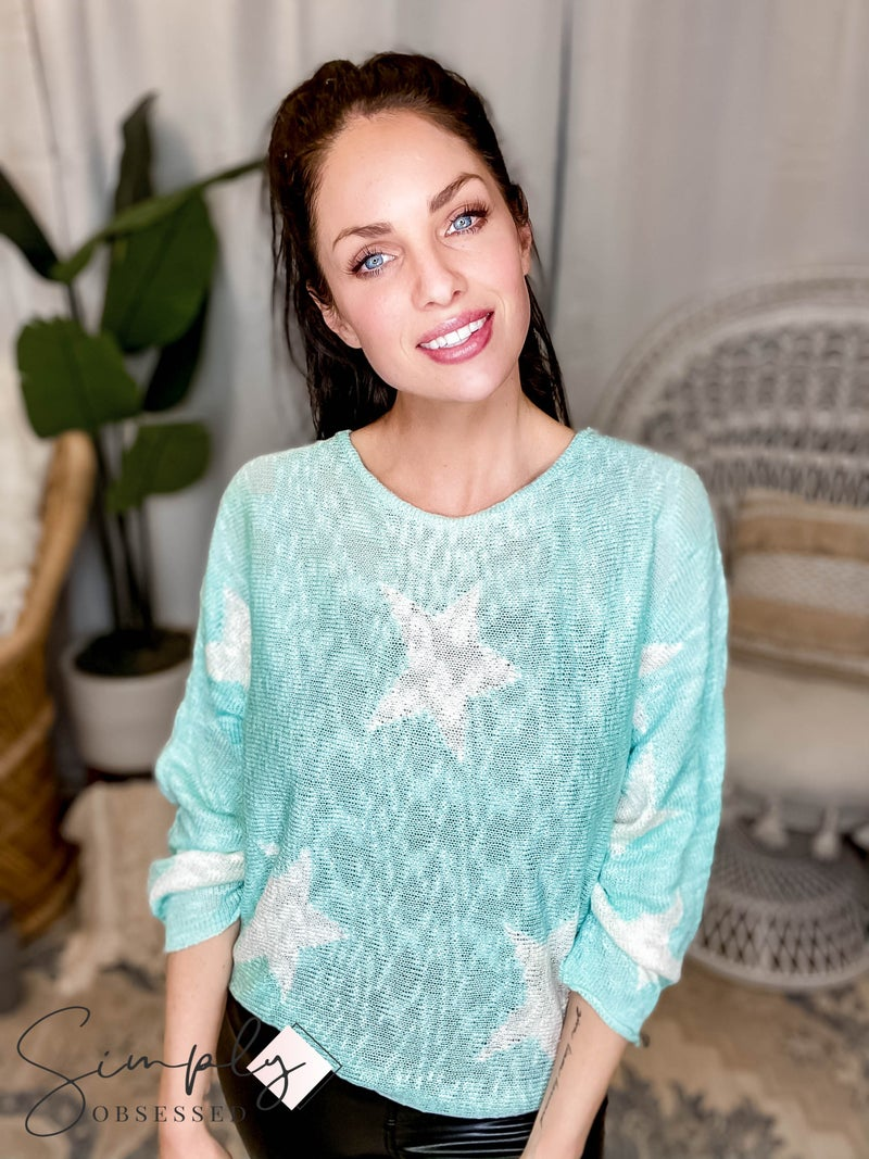 Blue B - Star Print Wide Neck Sweater