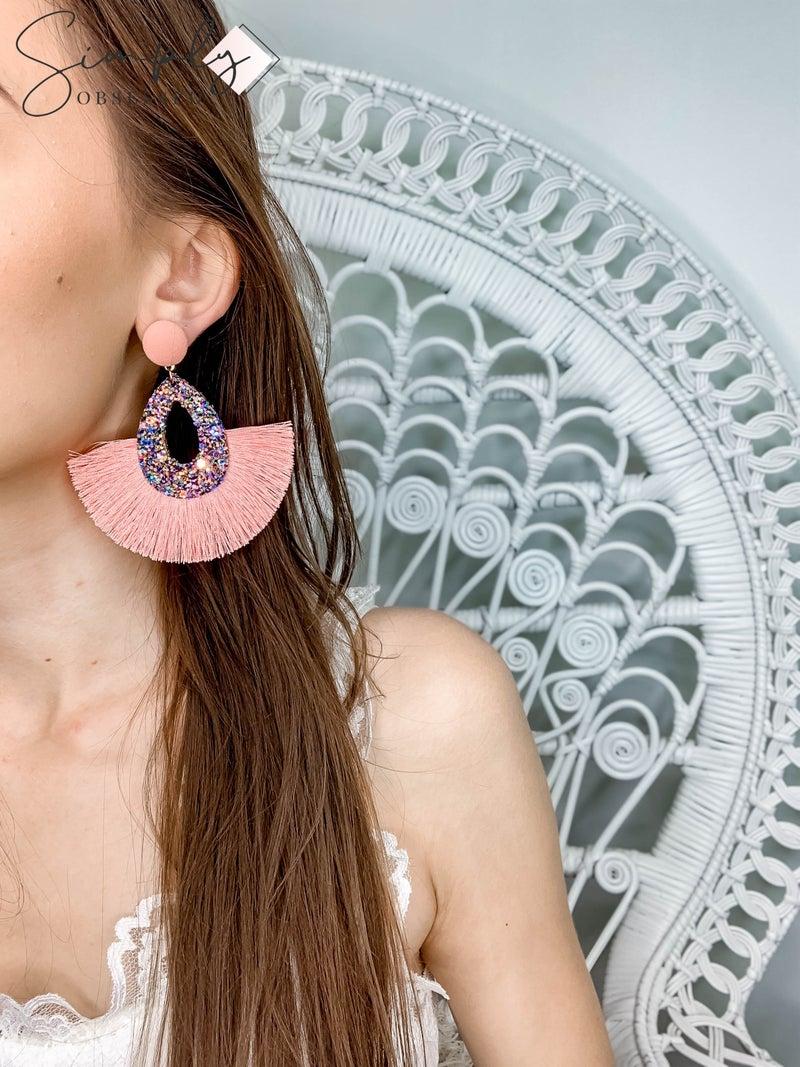 NYJ - Button Post w/ Glitter Fringe Earrings