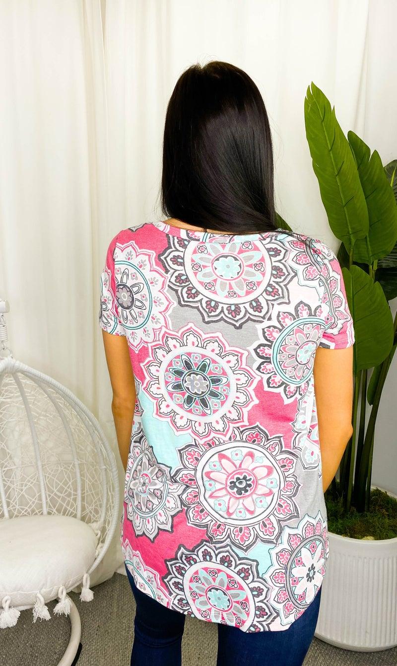 Sew In Love - Short sleeve floral v-neck top