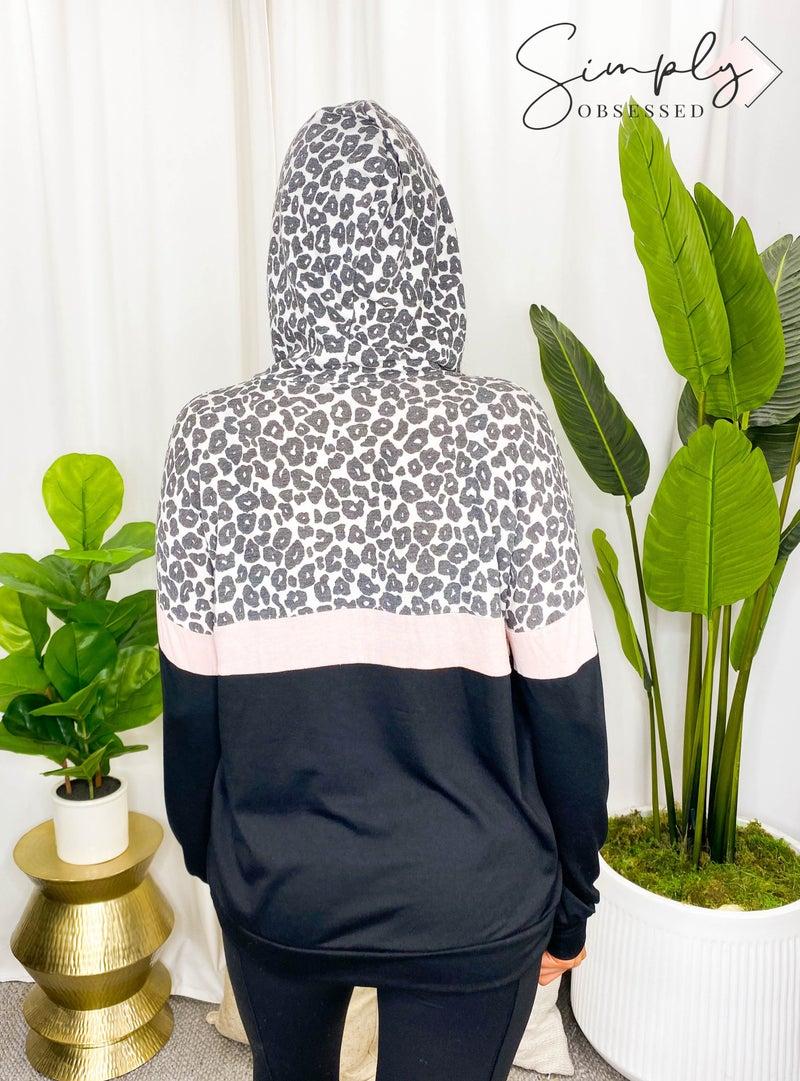 Vanilla Bay - Color block leopard print long sleeve knit hoodie