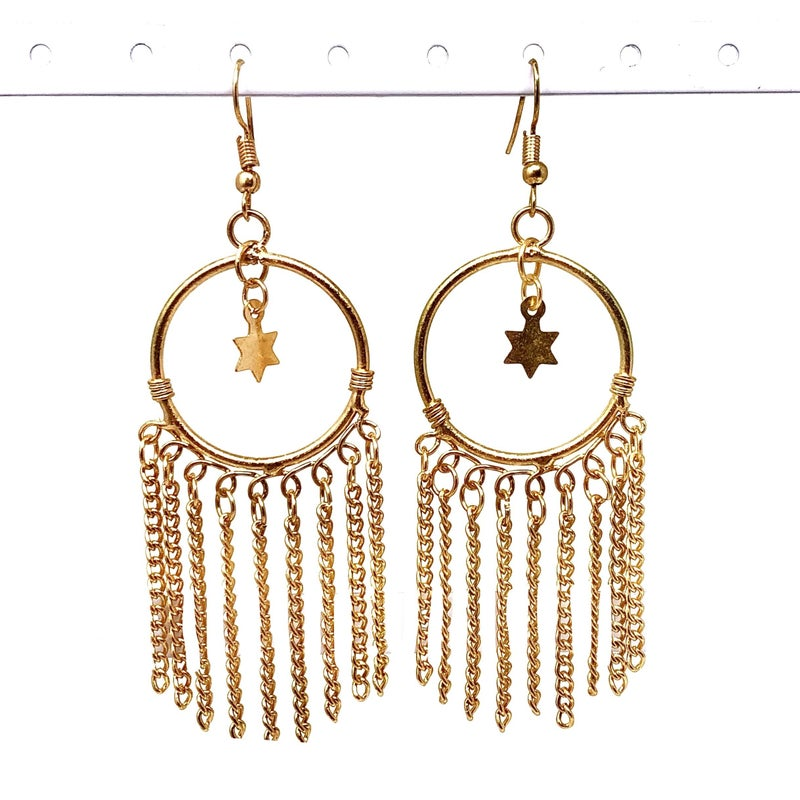 BOHO - Gold Hoop with Chain Dangle and Star Charms
