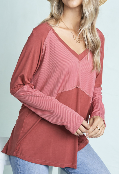 La Miel - V neck long sleeve relaxed fit top