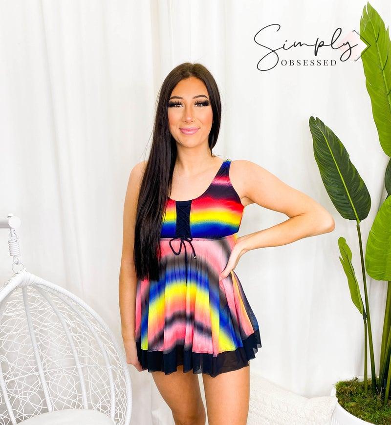 Shewin - Tie dye ombre swimsuit tops