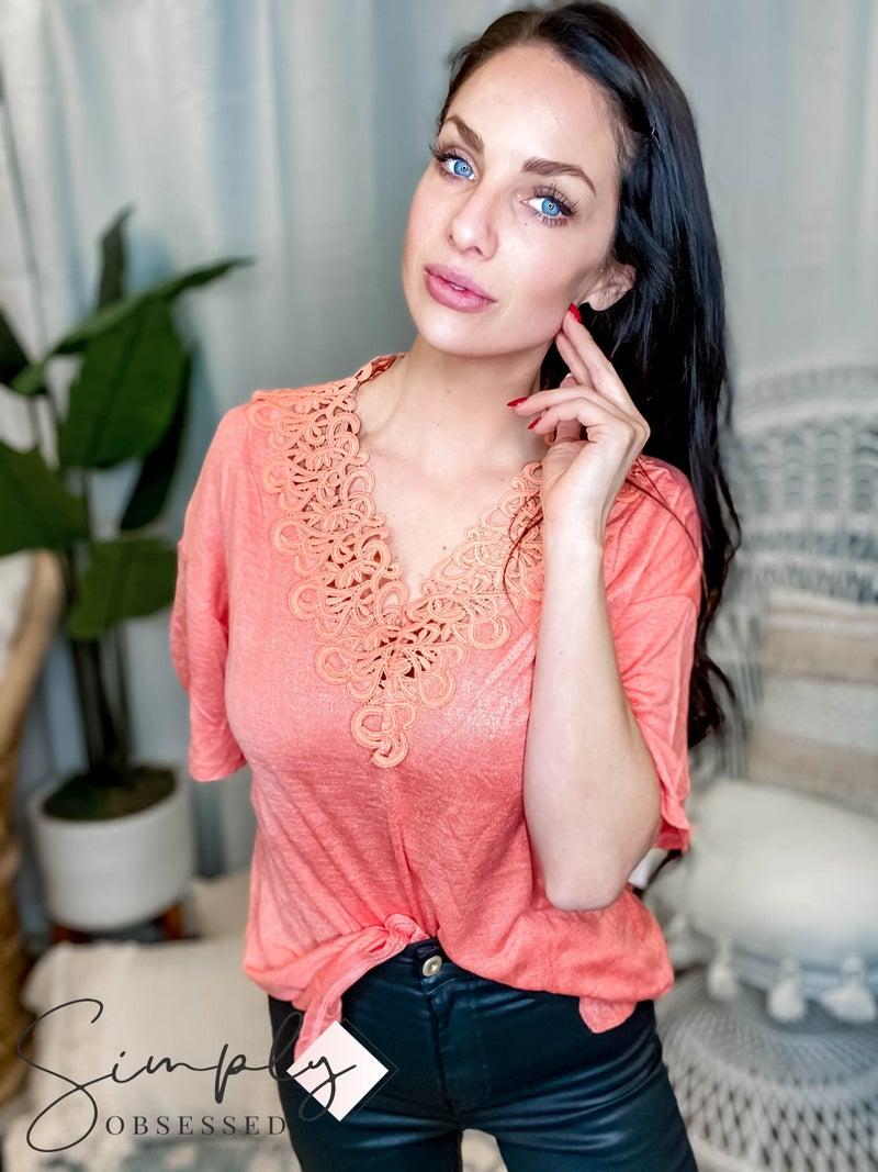 Listicle - Knit V Neck Drop Shoulder T Shirt