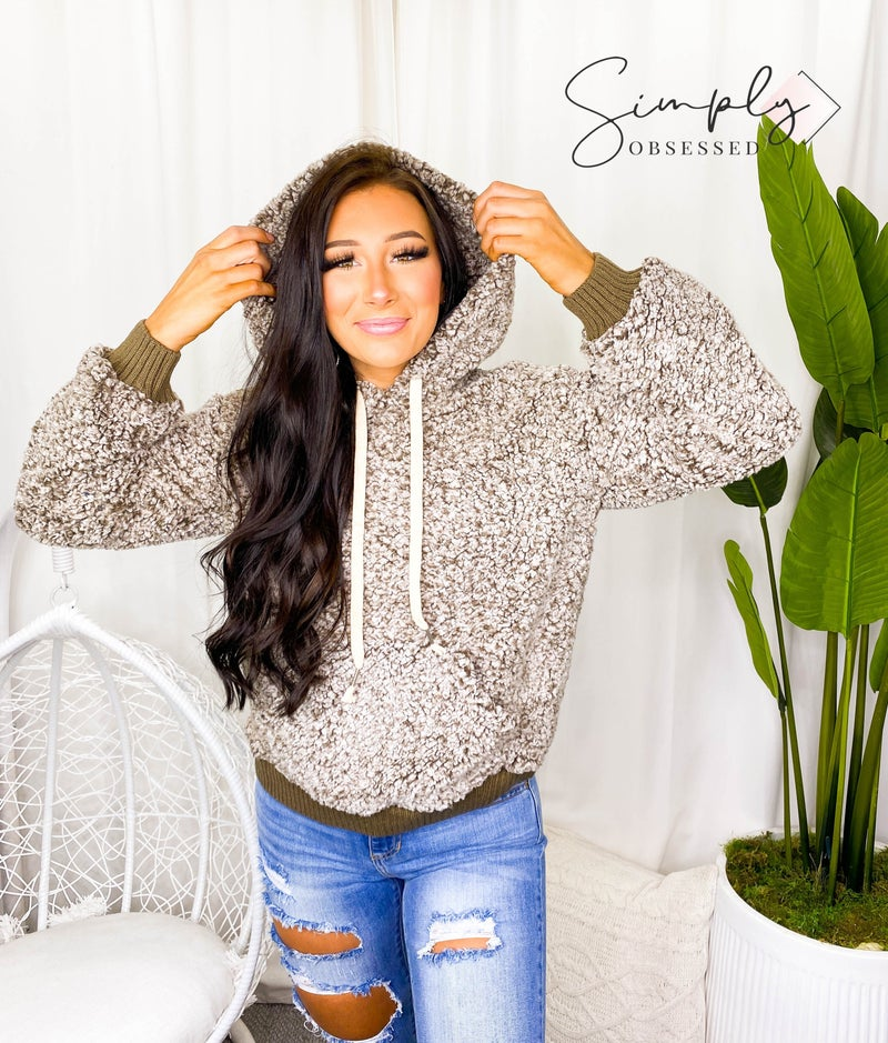 POL- Unicorn fuzzy sherpa hoodie sweater with adjustable string