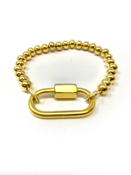 6 MM Gold colored  stainless steel with gold colored carabiner