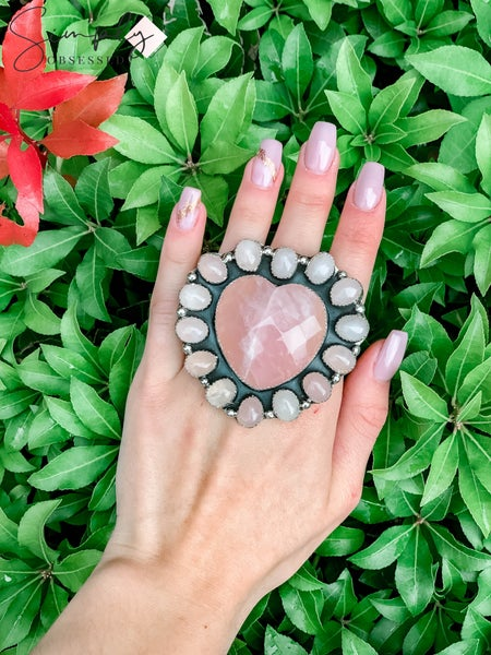 M & S - Rose Quartz Heart w/ Rose Q. Ring