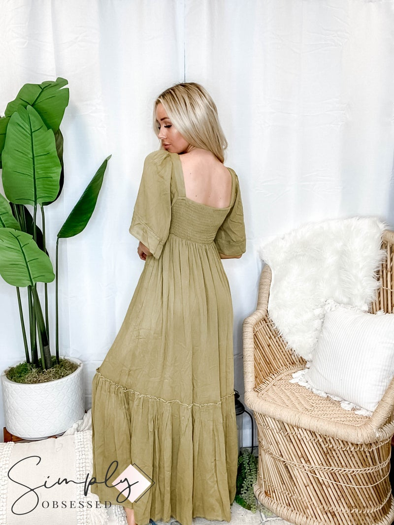 Listicle - Textured Rayon Square Neck Maxi Dress