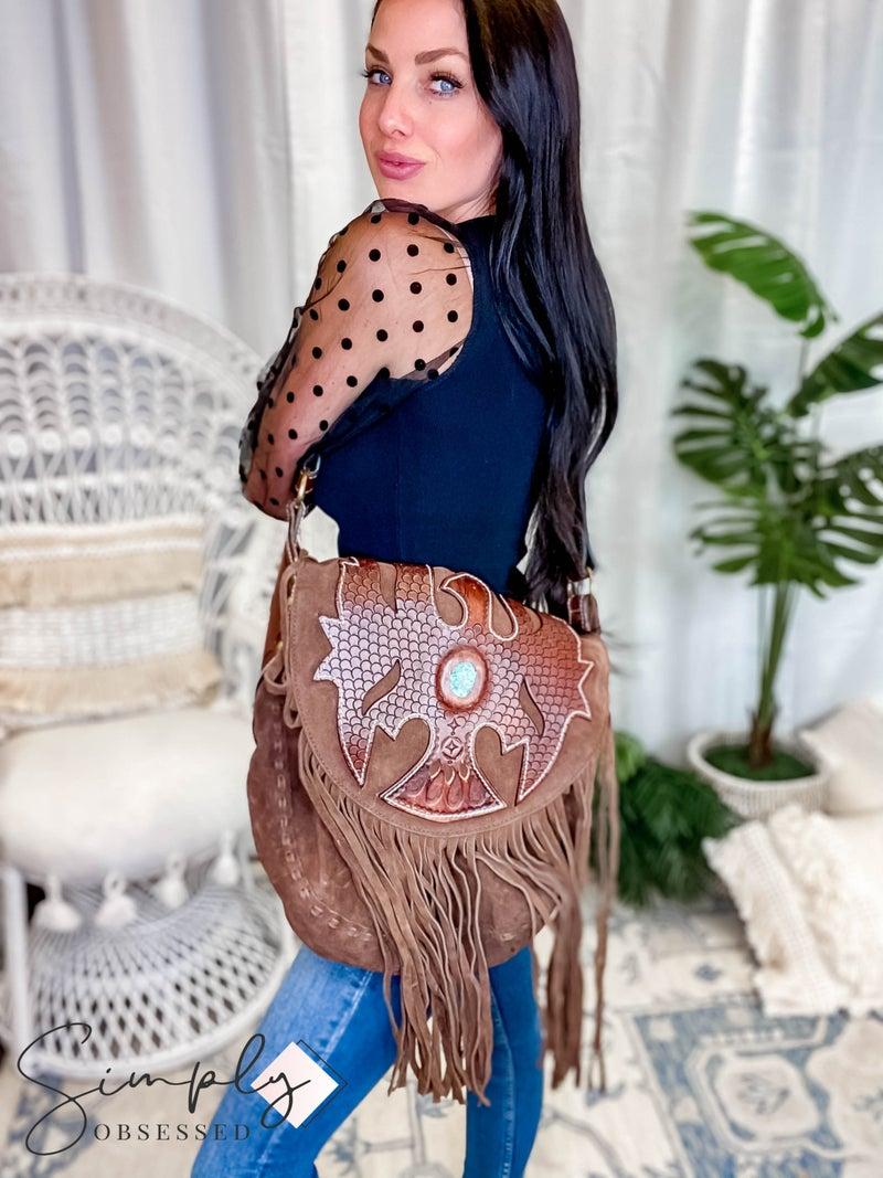 American Darling -  Genuine Leather Belt Buckle Bag W/Turq Stone Detail and Fringe