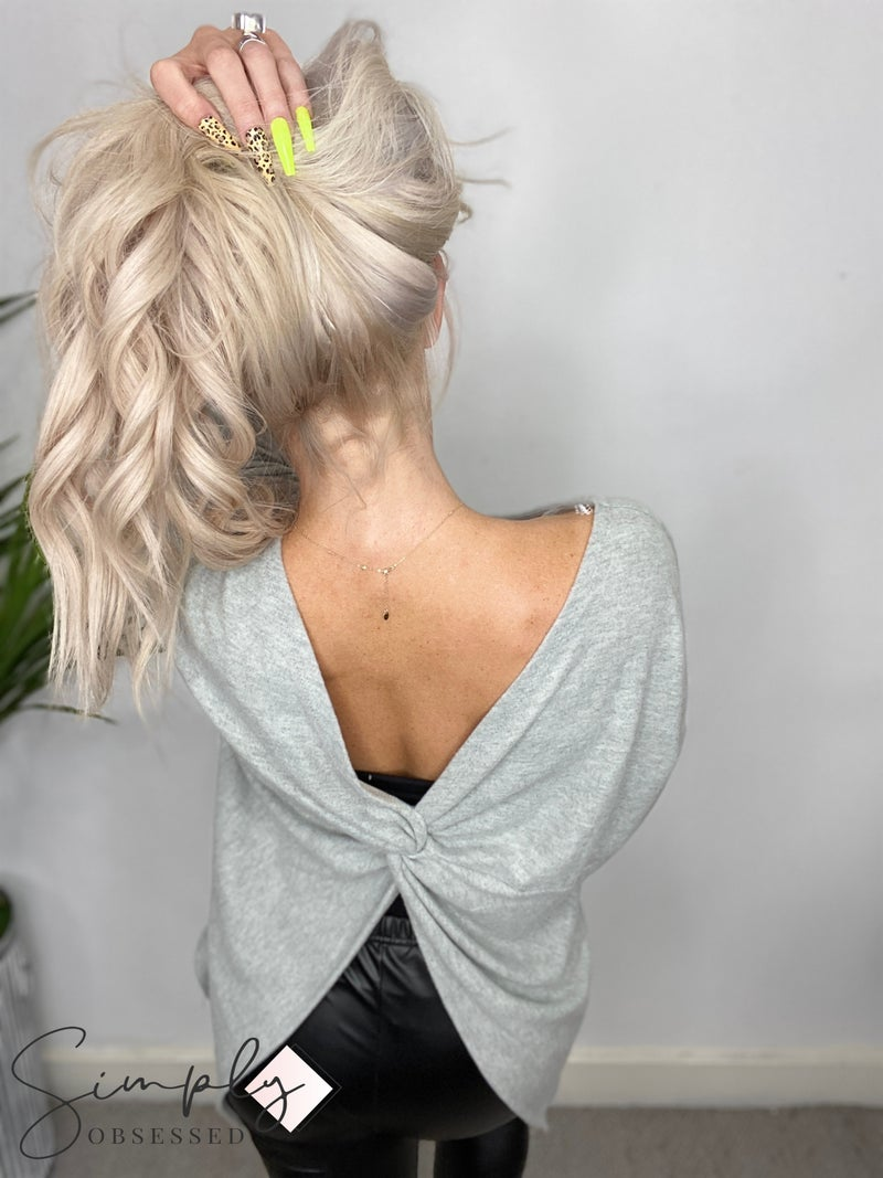 Fantastic Fawn - Long sleeve twisted back detail top