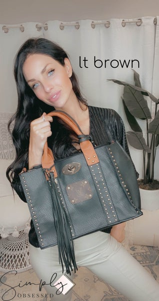 Up-Cycled - Black Leather Studded Shoulder Bag