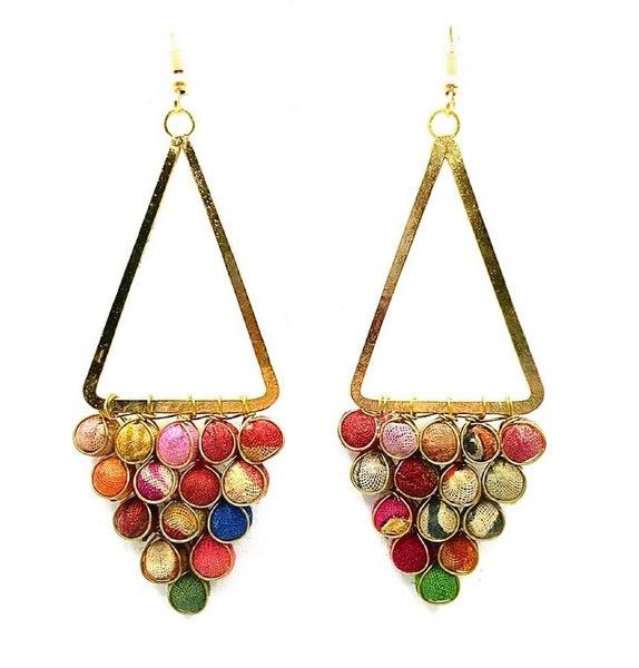 WORLD FINDS - Gold Triangle Boho Earrings