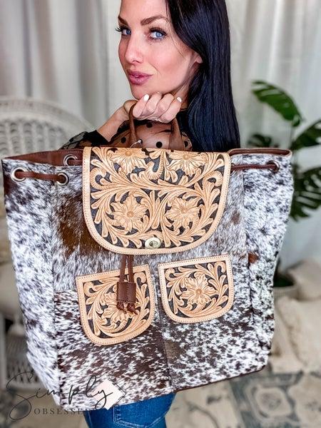 American Darling -  Genuine Leather Cowhide Backpack W/Tassel Detail