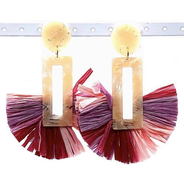 Extravagant Pink + Cream Fan Earrings