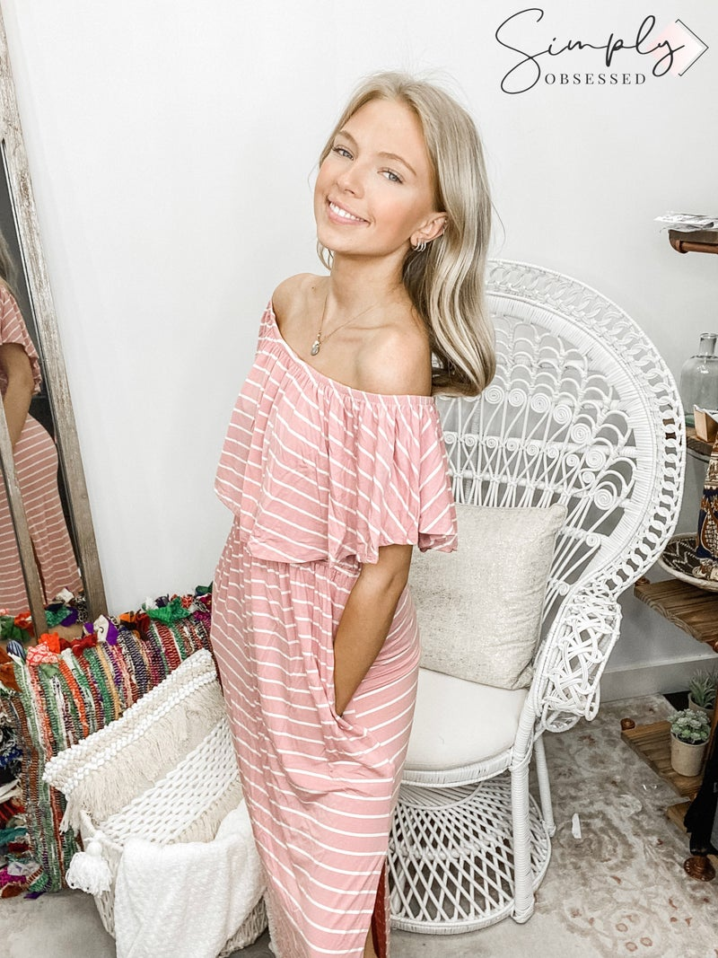 SWEET LOVELY-Striped Off Shoulder Maxi Dress