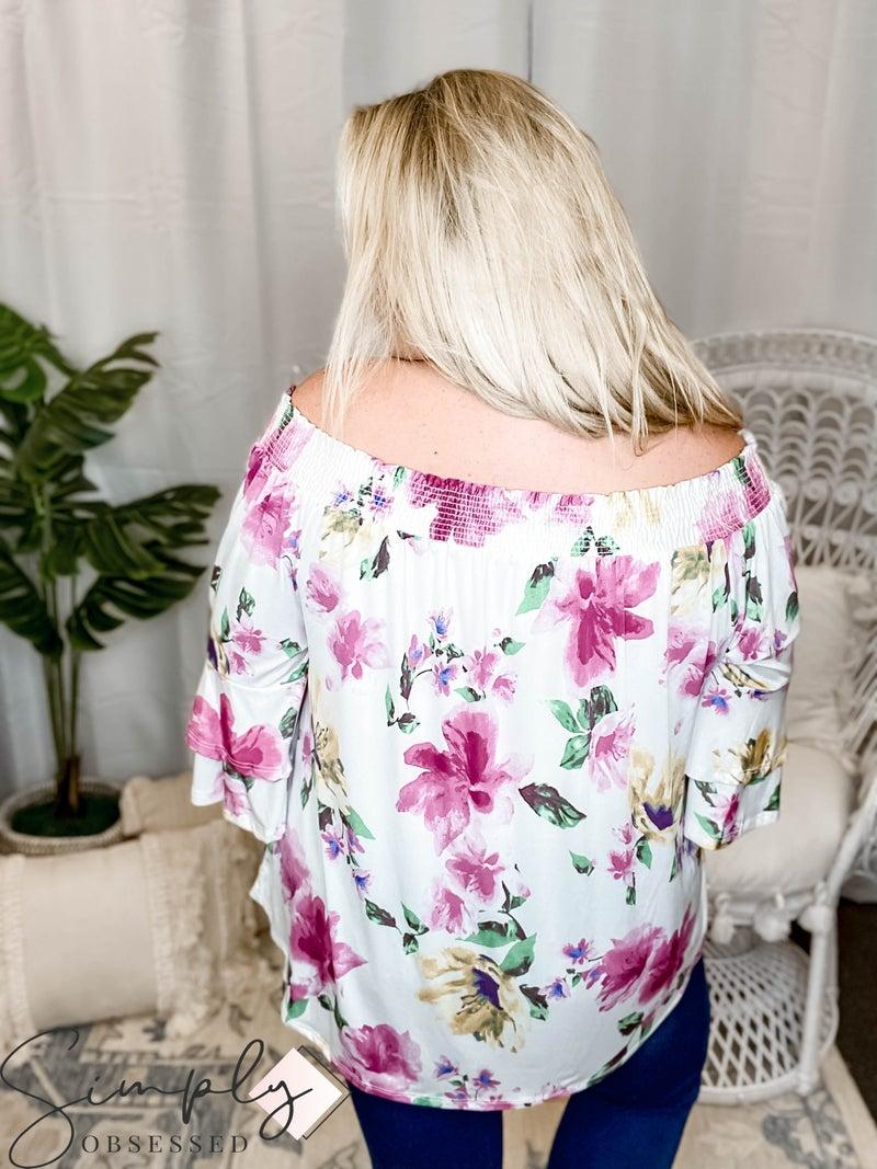 Emerald - Floral Printed Off Shoulder Fashion Top