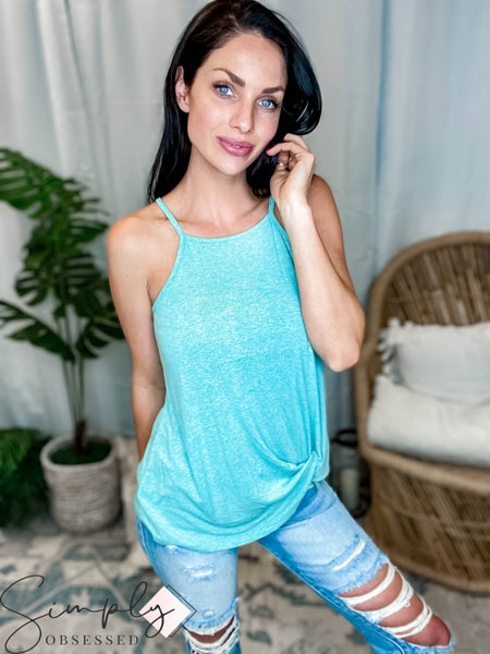 Mittoshop - Light weight marled crepe twisted front halter top