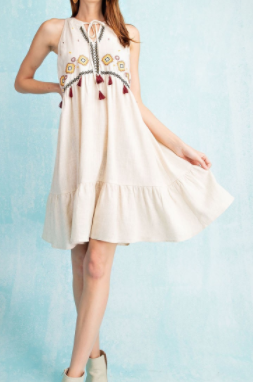Easel - Aztec embroidered sleeveless ruffle bottom dress