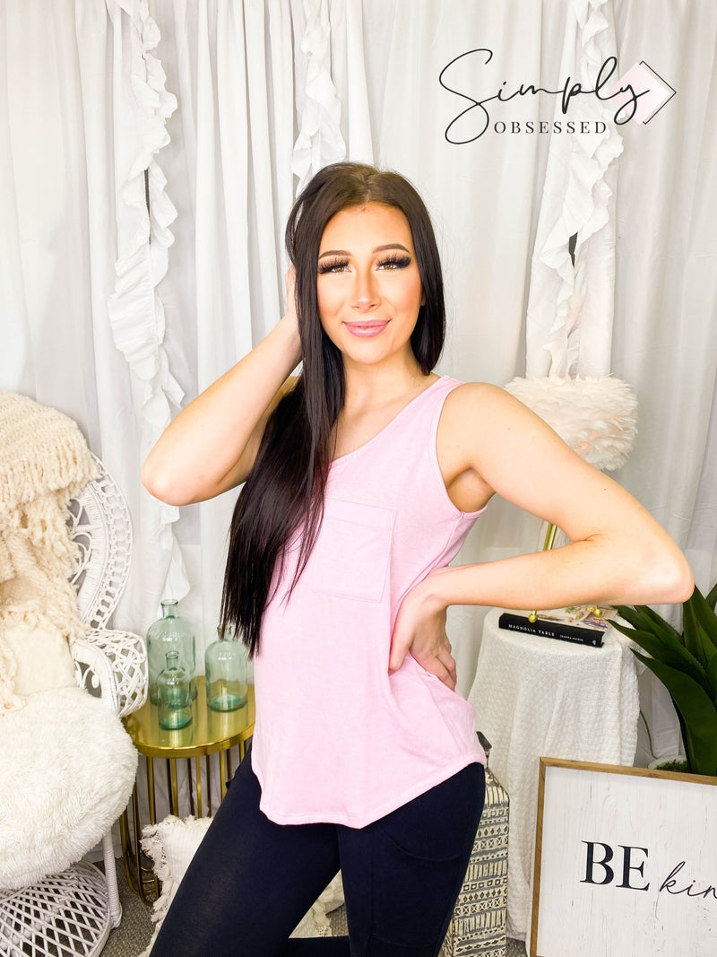 White Birch - Sleeveless solid knit top with pocket
