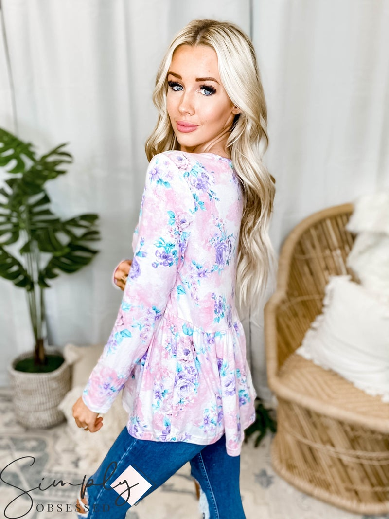 Hailey & Co - Criss cross floral print knit top