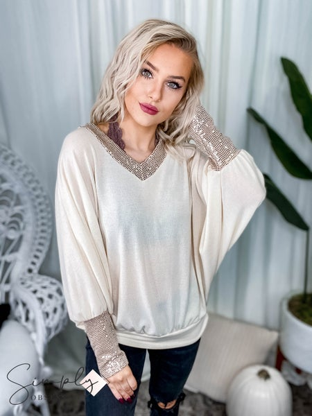 First Dibs Hailey & Co - Batwing long sleeve top featuring sequin fabric and V neck