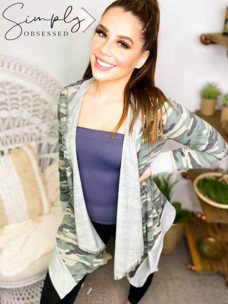 AMERICAN FIT-French terry camo cascade long sleeve cardigan
