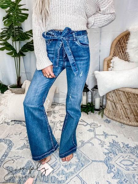 Flying Tomato - Self tie belt bell bottom washed denim jeans
