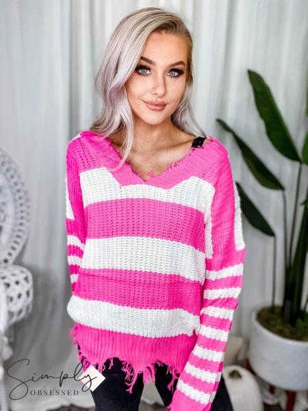 Main Strip- Frayed v-neck stripe sweater
