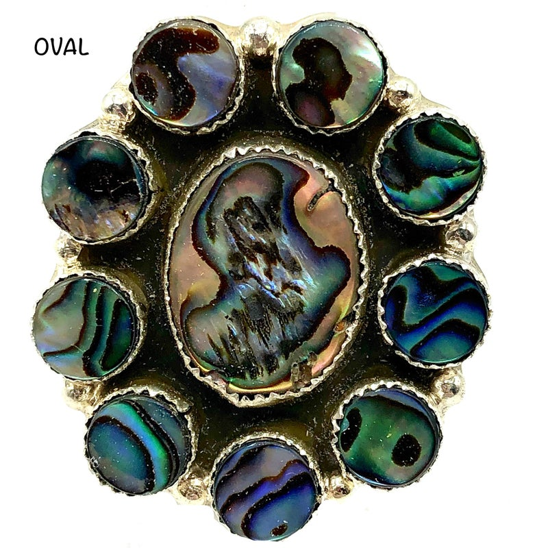 M&S - All Abalone Oval Cluster Ring