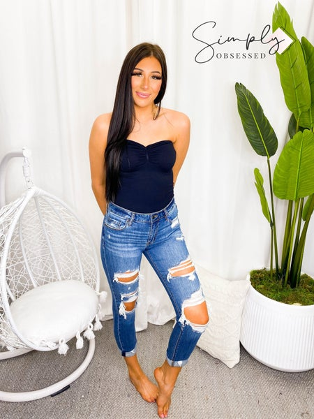 EUNINA-MID RISE DISTRESSED JEANS