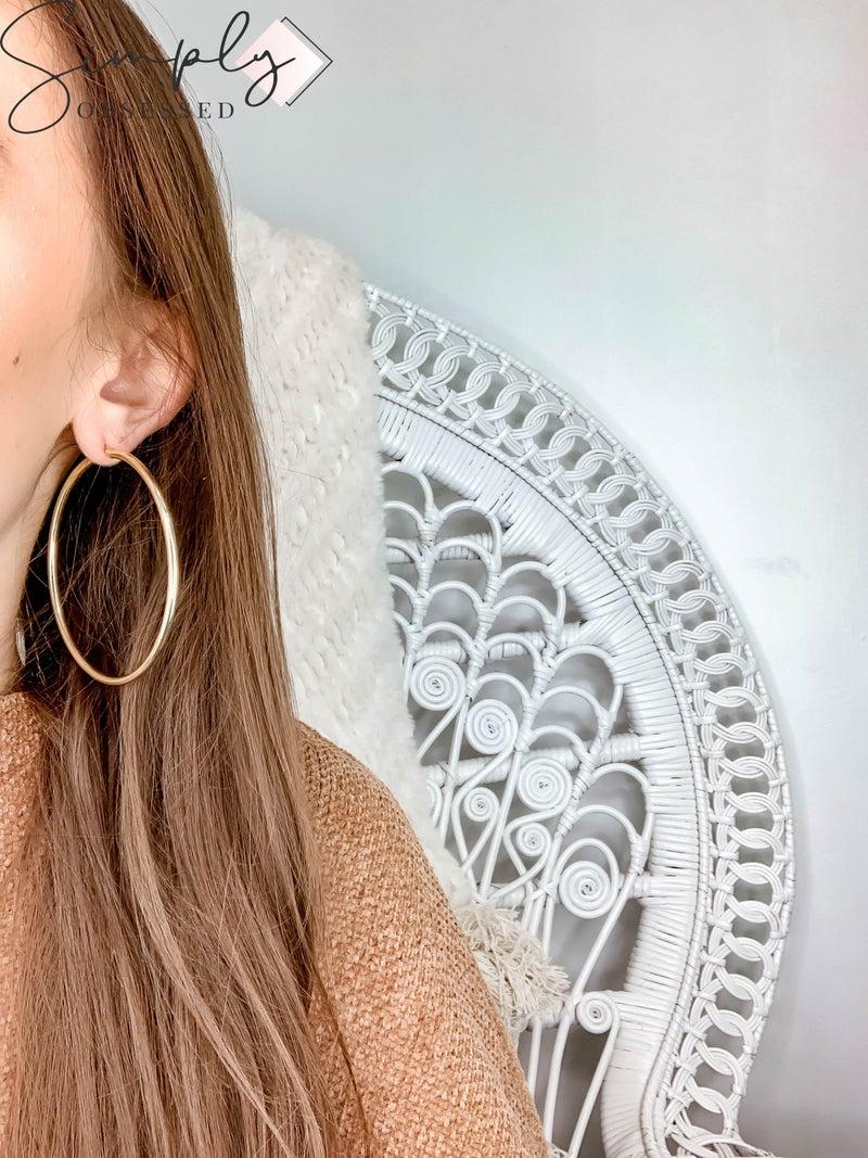 NYJ - Large Sterling Silver Gold Hoop Earrings
