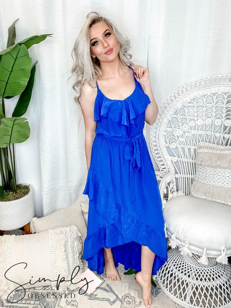 EE:Some - Asymmetric Ruffled Maxi Dress