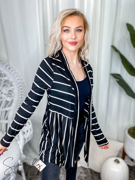First Dibs Hailey & Co - stripe rayon spandex cardigan with side pocket
