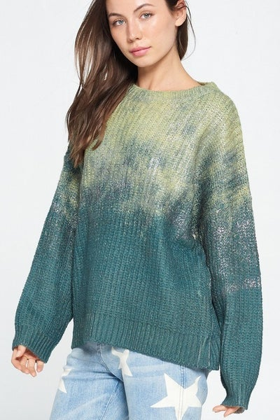 Davi & Dani - Long sleeve ombre sparkly detail sweater (all sizes)