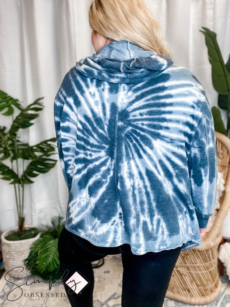 Sew In Love - Long Sleeve Tie Dye Hooded Cardigan