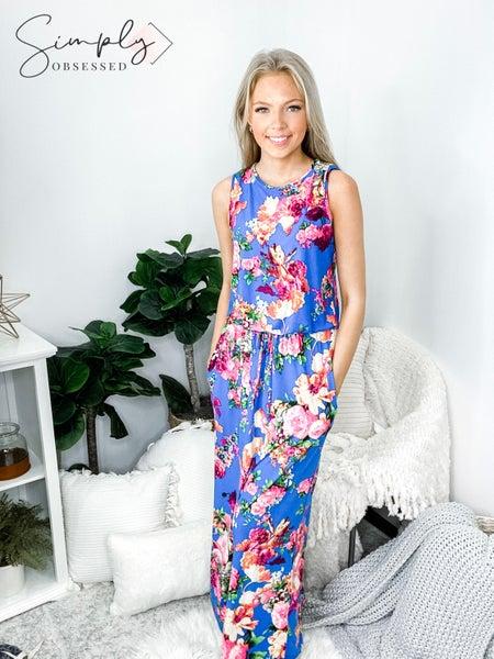 EG - Drawstring floral maxi dress