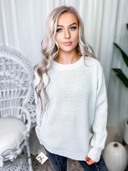 (Black Friday) Hi-low Long Sleeve Round Neck Waffle Sweater