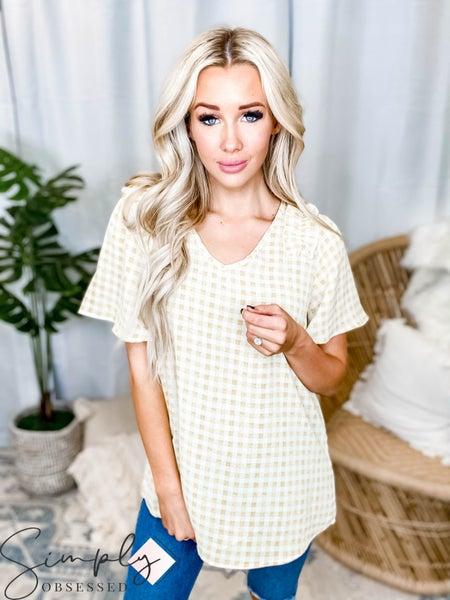 Hailey & Co - Cute plaid short sleeve top with ruffle detail