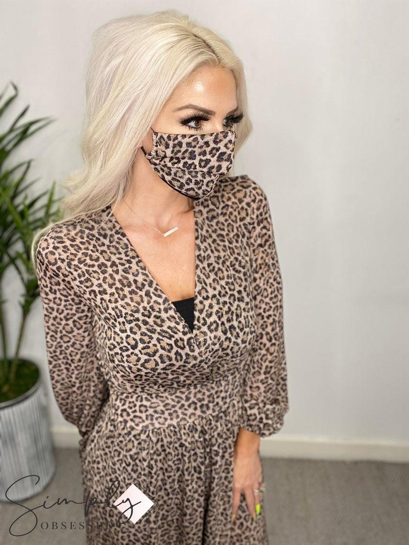 Blumin Apparel - Long sleeve high slit glitter detail maxi dress and matching face mask